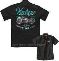 Velocitee Mens Mechanic Garage Work Shirt Vintage Motorcycles Biker W17027