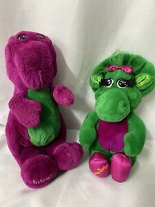 "BARNEY & BABY BOP Plush Lyon Purple Dinosaur 12"" Stuffed Animals Vintage"