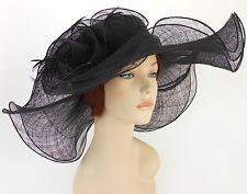 New Church Derby Wedding Party Sinamay 2 Layers Wide Brim Dress Hat 1765 Black