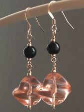 Vintage Peachy-Pink Twist & Round Black Glass 14ct Rolled Gold Earrings