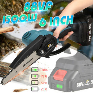 6'' Cordless Chainsaw 88VF Electric 1500W One-Hand Saw Woodworking Wood Cutter