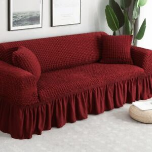 Waterproof Solid Color Elastic Sofa Cover  Printed Plaid Stretch Sectional Sofa
