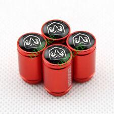 4X Red Aluminium Car Wheel Tire Valve Stem Dust Cover Air Caps For Dodge Ram SRT