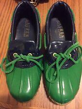 Ralph Lauren Makenna Duck Shoes  Boots Sz 6B Blue Green Rubber Rain Garden NICE!