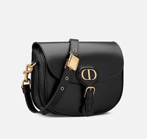 Bag Christian Dior Bobby Medium Black Calfskin With Shoulder Strap AUTH
