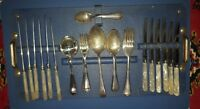6 SETTING VINTAGE GROSVENOR CUTLERY SILVER PLATE + LUCITE HANDLED KNIVES ON TRAY