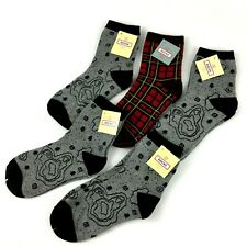 Womens Ankle Socks Size 9-11 Gray Map And Red Plaid 5 Pack
