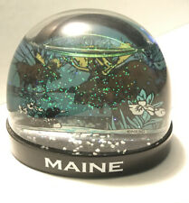 "Vtg Snow Dome Globe Maine Moose- Duck 3.5"" Snowdome"