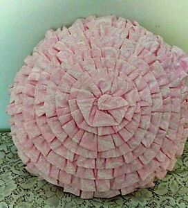 Nicole Miller Ruffled Throw Pillow Pink Girl's Room - 18 Inches Round