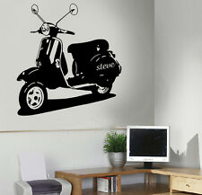 Vespa Scooter/Bike Personalised Wall Art Sticker/Decal