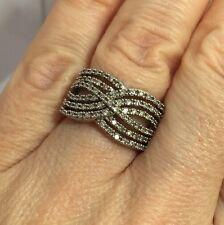 Sterling Silver 3/4 Carat Diamond Criss Cross Cigar Pave Wedding Cocktail Ring 6