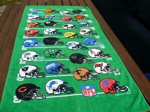 """Vintage 1997 NFL Football AFC NFC 55"""" x 27.5"""" Helmet Logo Bath Beach Towel RARE"""