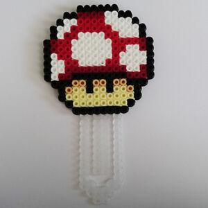 SUPER MARIO WORLD Power Up Mushroom handmade Hama beaded bookmark Great gift!