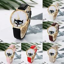 New Cute Women Watch Cat Leather Band Round Analog Quartz Dress Wristwatch Часы