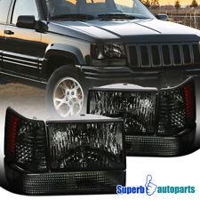 For 93-96 Jeep Grand Cherokee Head Lights Bumper Lamps+Corner Lights 6PC Smoke
