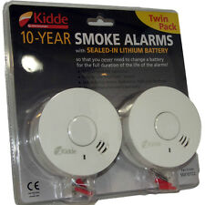 2 Kidde Smoke / Fire Alarm Detectors - 10 Year Batteries Life