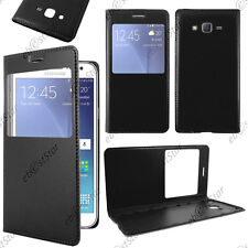 Housse Coque Etui Fenêtre View PU Cuir Noir Samsung Galaxy J5 SM-J500F