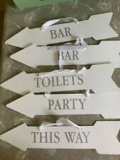 Wedding / Party Cardboard Signs White & Silver X6