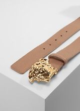 Versace Unisex Medusa Gürtel VITELLO PECCARY Gold braun-Camel Oro Caldo 90cm