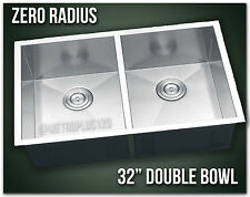 "32"" Double Bowl Undermount 16 Gauge 304 Stainless Steel Kitchen Sink Zero Radius"