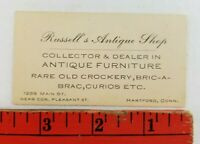 Vintage 1920's Russell's Antique Shop Hartford Connecticut Business Card
