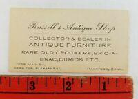 Vintage 1920's Russell's Antique Shop Hartford Connecticut Business Card
