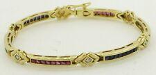Heavy 18K gold colorful 3.48CTW diamond emerald ruby sapphire link bracelet