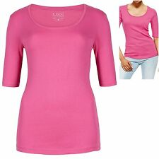 M&S size 8 Pure Cotton Stretch Jersey T-Shirt Top StayNew Half Sleeves Pink New