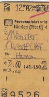Antiguo Personalfahrkarte Minden ( Westf ) - Münster acerca de Hamm 1978 (G4341)