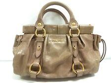 Auth miumiu LightBrown Leather Handbag