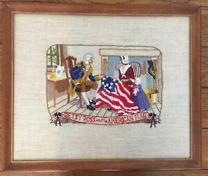 Vintage Needlepoint American History Betsy Ross George Washington Folk Art Flag