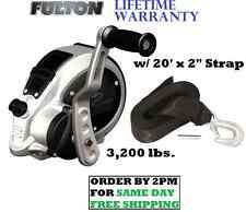 """FULTON F2 TRAILER WINCH 3200lb 2-SPEED W/ 20'X2"""" STRAP & HOOK ADJSTBLE BOAT BULK"""
