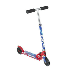 EVO Folding Inline Kids Boys Scooter 2 Wheel Steel Frame Easy Grip Red-Blue-Pink