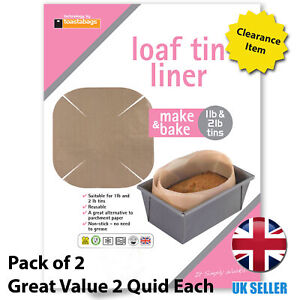 Pack of Two Make and Bake Reusable Loaf Tin Liner 1lb And 2lb Tins