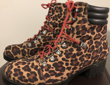 Sexy Womens New So Creek Leopard Boots- Zip With Red Laces Size 9.5