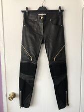 NWOT GIVENCHY Black Leather & Lambskin Zipper Slim Skinny Legging Pants, Size 36