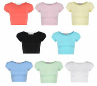 NEW WOMENS LADIES TOP BRA SHORT CROP PLAIN VEST PARTY CAUSAL T-SHIRT FITTED TOP