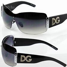 Womens DG Eyewear Fashion Designer Shield Wrap Sunglasses Shades Black Oversized