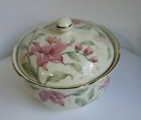 "Otagiri Prima 4"" covered Trinket Box Bowl Pink Flowers Green Gold Gilding Japan"