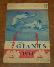 1944 New York Giants vs Brooklyn Official program scorecard Polo Grounds nice!