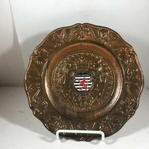 """Bronze Brass 8"""" LUXEMBOURG Wall Hanging Plate"""