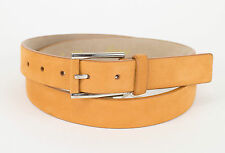 New BRIONI Men's Sandy Brown Leather Silver Buckle Belt Size 40 US 105 EU $595