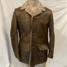 Vintage American Male Leather Faux Shearling Coat Jacket 1970's Size Medium 36
