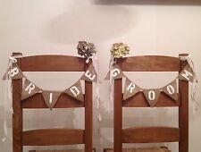 Sposa E Sposo Iuta Mini Poltrona Bandierine Nuziale Vintage Stile Country Banner