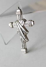 Vintage Silver Tone Clear CZ Crystal Large Cross Pendant Gorgeous