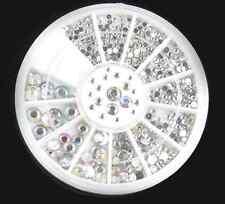 Bulk 5 Sizes 800 pcs Crystal Glitter Rhinestone Nail Art Tips Decoration + Wheel
