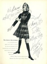 1961 Lord & Taylor Fashion Jeanne Campbell  Plaid Wool Knee Shy ART PRINT AD