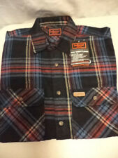 NEW- Five Brothers Heavy Weight Western Flannel Shirt-Medium-8.5oz Cotton-Blue