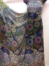 Designer Multicolour Chiffon Peacocks Print Fabric Dress Craft wedding light