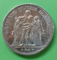 FRANCE KM# 820.1 5 FRANCS SILVER COIN HERCULES 1875 A PARIS MINT GOLDISH COLORED